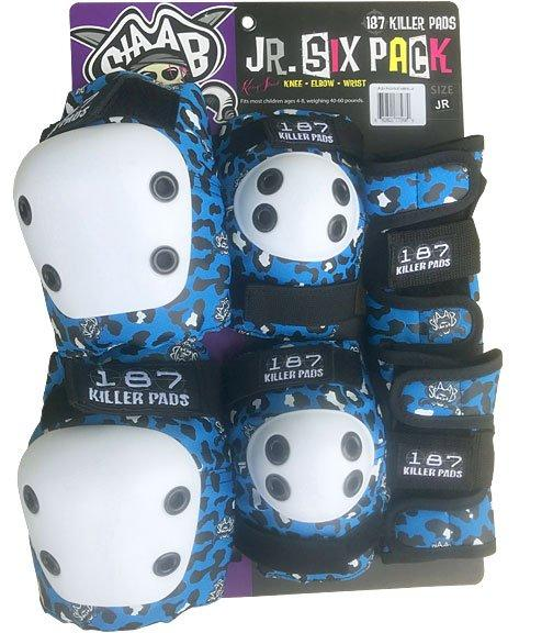 187 JUNIOR PAD SET - BLUE CHEETAH (KNEES,ELBOWS &WRISTS) - The Drive Skateshop