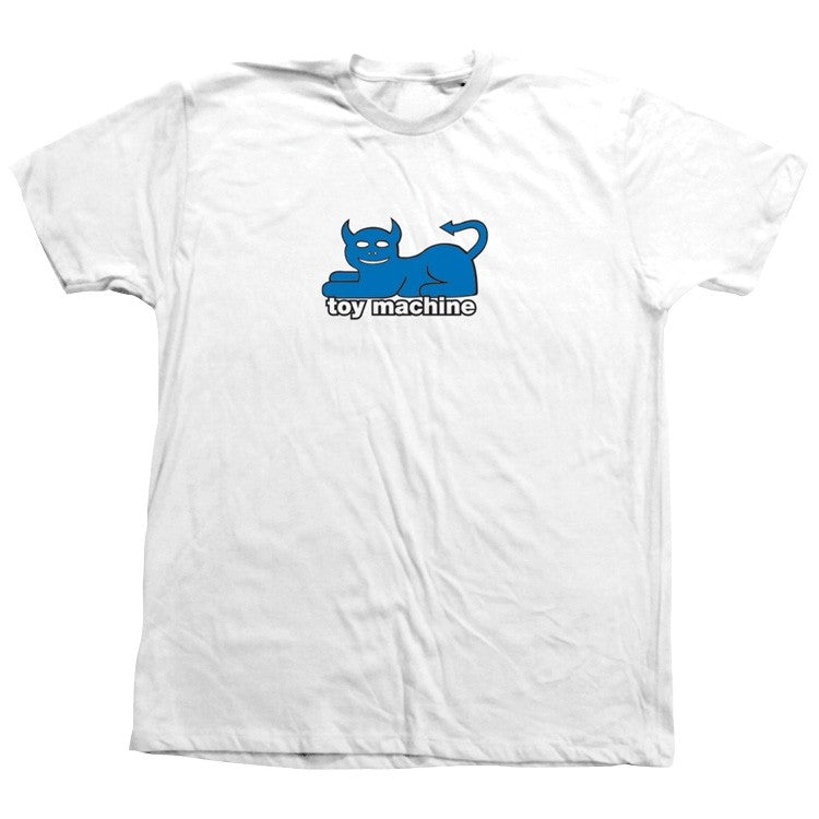 TOY MACHINE S/S T-SHIRT - DEVIL CAT 90'S WHITE - The Drive Skateshop