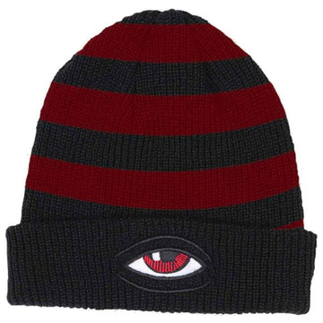 TOY MACHINE BEANIE - SECT EYE STRIPE DOCK BEANIE BLACK - The Drive Skateshop