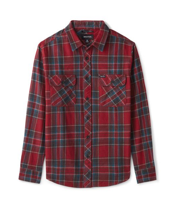 BRIXTON BOWERY L/S FLANNEL - BURGUNDY