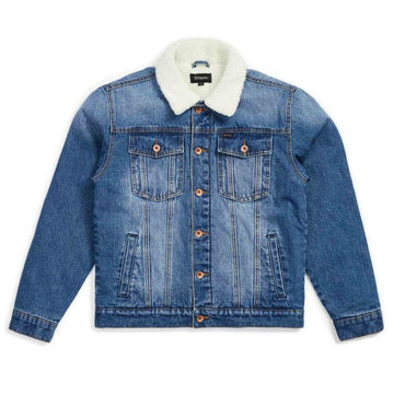 BRIXTON CABLE SHERPA DENIM JKT - WORN INDIGO - The Drive