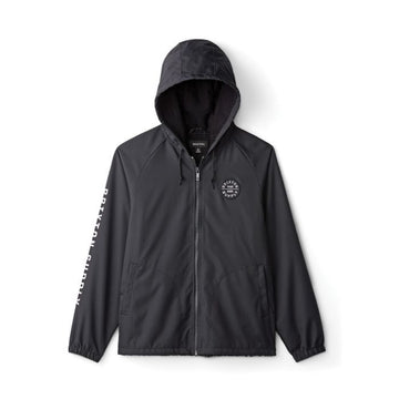 BRIXTON CLAXTON OATH ZIP HOOD JKT - BLACK/WHITE - The Drive Skateshop
