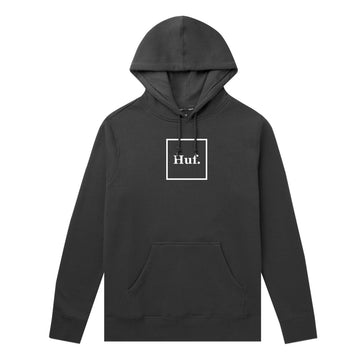 HUF ESSENTIALS BOX LOGO PO HOODIE BLACK - The Drive Skateshop