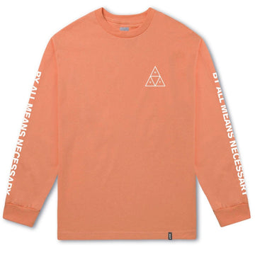 HUF ESSENTIALS LONGSLEEVE TRIPPLE TRIANGLE TEE RUSSET ORANGE