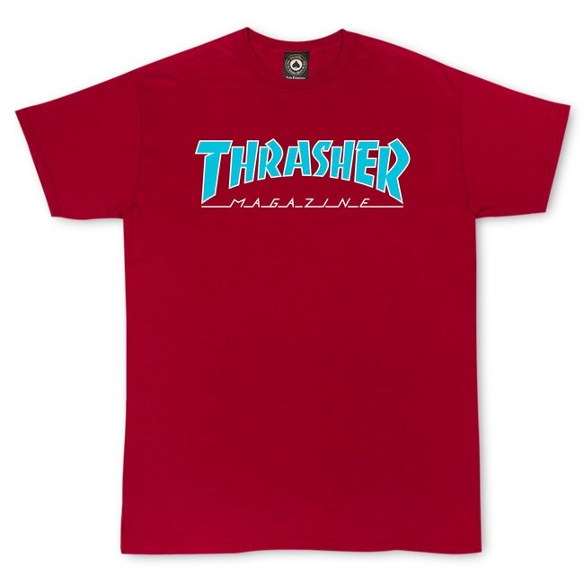THRASHER OUTLINED T-SHIRT CARDINAL - The Drive Skateshop