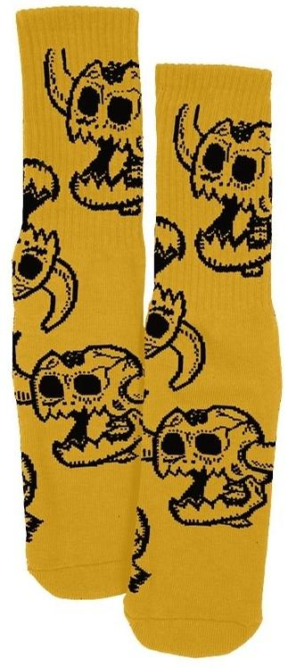 TOY MACHINE SOCKS - MONSTER SKULL YELLOW - The Drive Skateshop