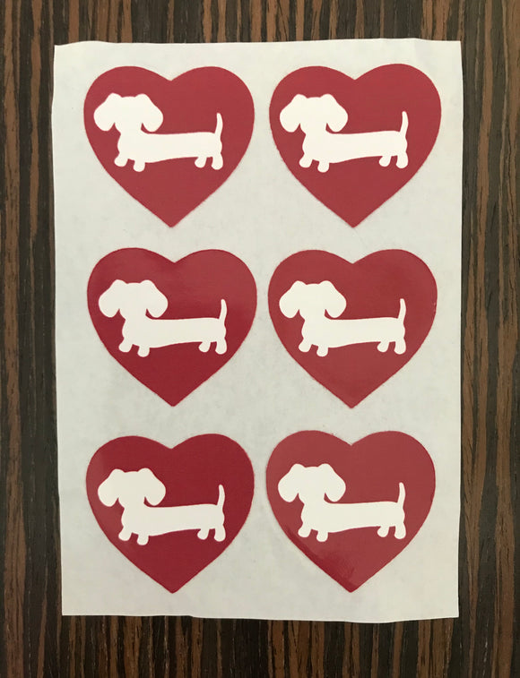 Dachshund Heart Stickers