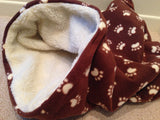 Brown Paw Fleece with Faux Sheepskin Lining Weenie Warmer