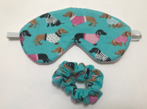 Dachshund Print Sleep Mask with Matching Scrunchie