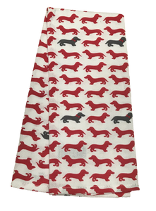 Red & Gray Dachshund Dishtowel