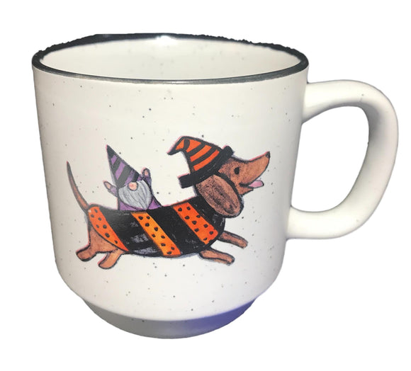 Dachshund Witch/Stripes Halloween Coffee Mug
