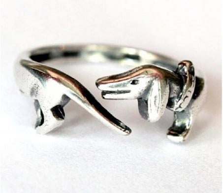 Wrapped Around Your Finger Silver Dachshund Ring