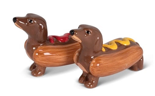 Hot Dog Dachshund Salt & Pepper Shakers