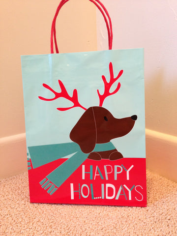 Small Dachshund Holiday Gift Bag