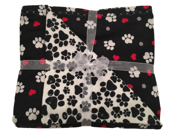 Black Hearts & Paws Double Layer Reversible Doggy Dream Blanket