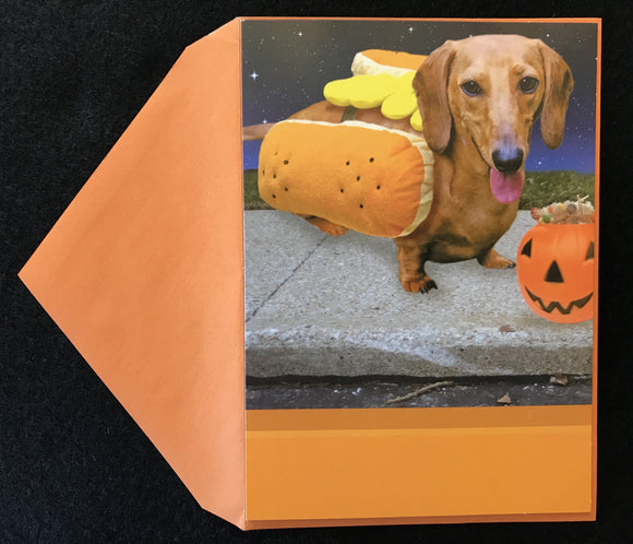 Hot Dog Halloween Card