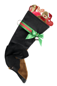 Dachshund Shaped Christmas Stocking - Black & Tan