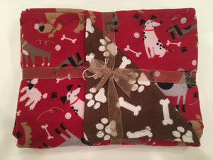 Red Multi-Dog Double Layer Reversible Doggy Dream Blanket