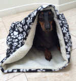 Black Paw Print Fleece/Sherpa Weenie Warmer