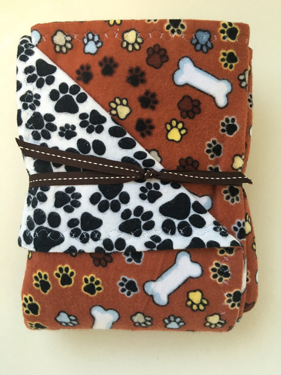 Rust Paw & Bone Double Layer Reversible Flannel Doggy Dream Blanket