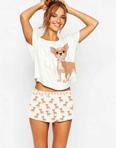 Women's Chihuahua Short 2 Piece PJ Set