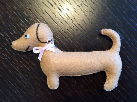 Miniature Stuffed Dachshund - Party Favor - Gift Topper - Small Toy