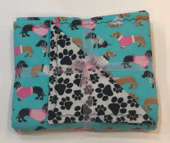 Pink Sweaters Dachshund Double Layer Reversible Doggy Dream Blanket