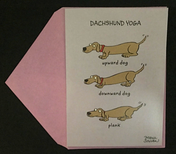Dachshund Yoga Birthday Card