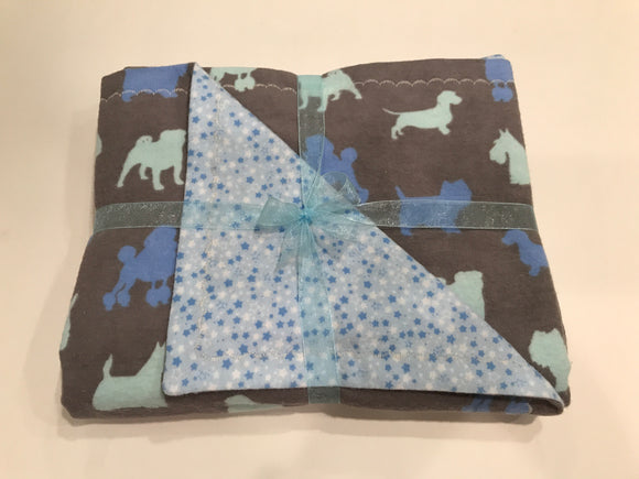 Gray Sleepy-Time Double Layer Reversible Doggy Dream Blanket