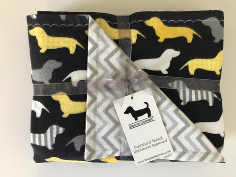 Gray & Yellow Dachshund Double Layer Reversible Doggy Dream Blanket
