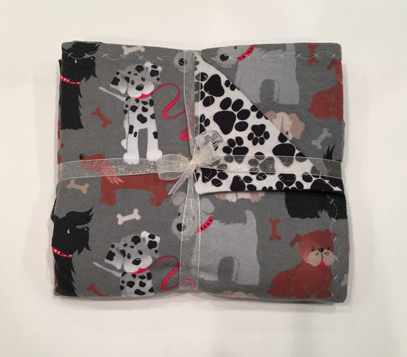 Gray Multi-Dog Double Layer Reversible Doggy Dream Blanket