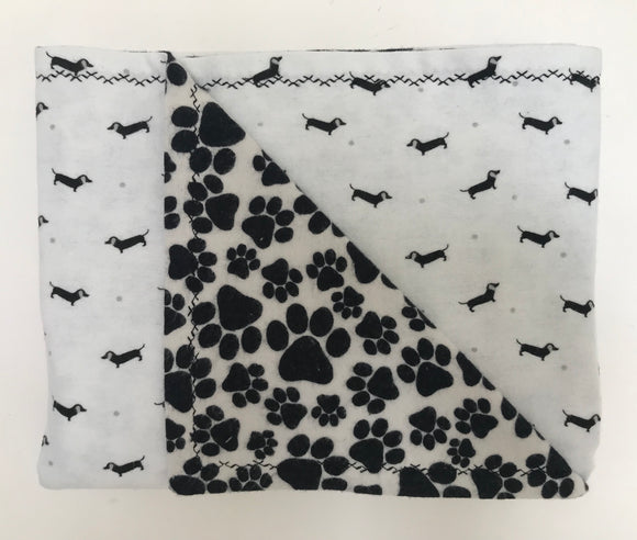Black & White Tiny Dox Double Layer Reversible Doggy Dream Blanket
