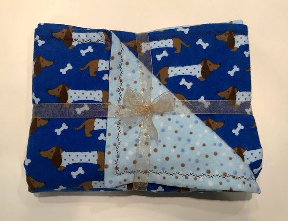 Blue Dachshunds Double Layer Reversible Doggy Dream Blanket