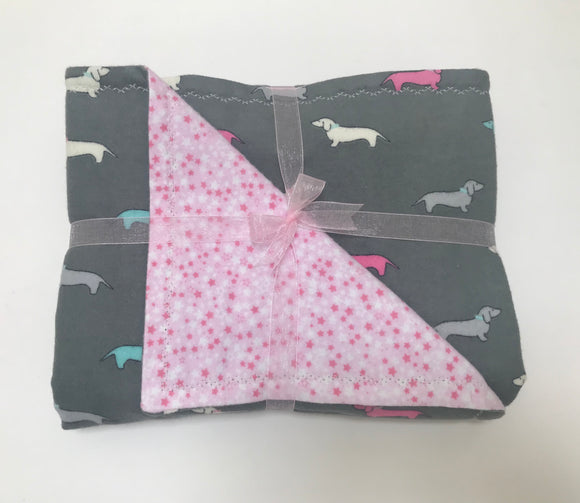 Pink Sprinkled Dachshunds Baby Blanket