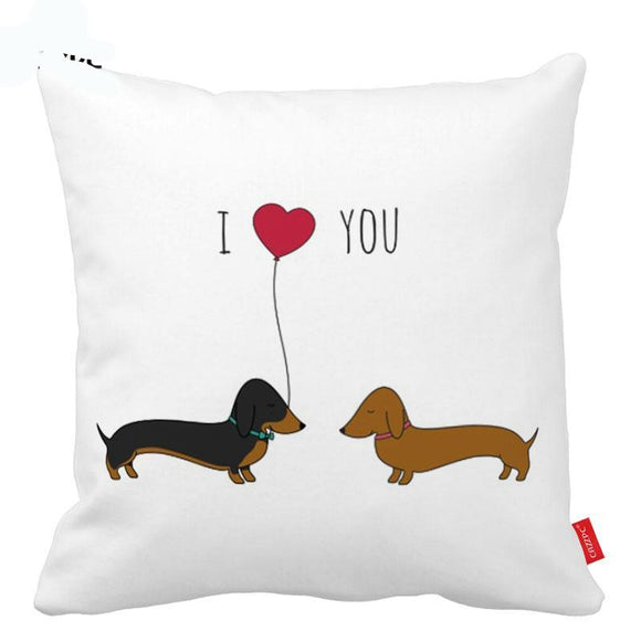 I Love You Cute Dachshund Design Pillow