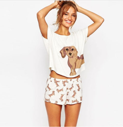 Women's Dachshund Short 2 Piece PJ Set