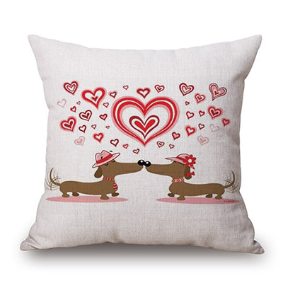 Love Story Dachshund Design Pillow