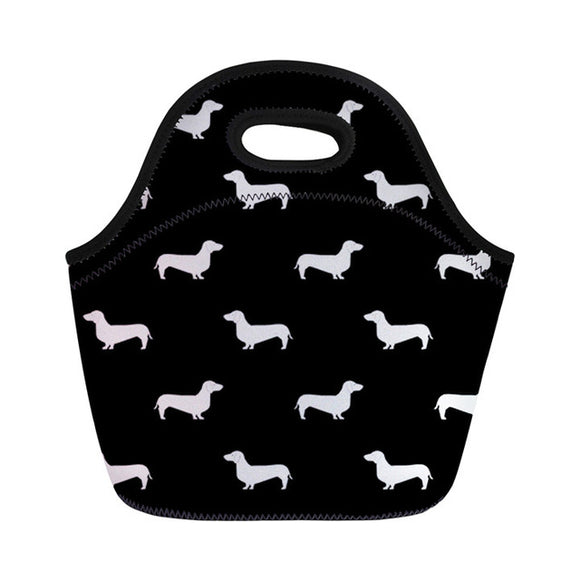 Dachshund Design Insulated Lunch Bag - Black & White