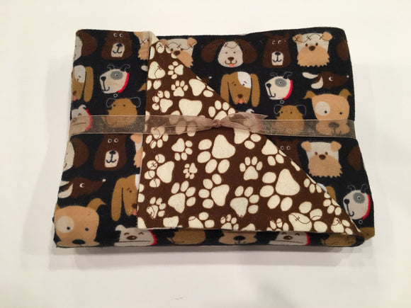Puppy Faces Double Layer Reversible Flannel Doggy Dream Blanket