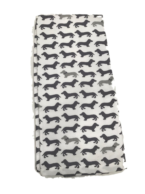 Navy & Gray Dachshund Dishtowel