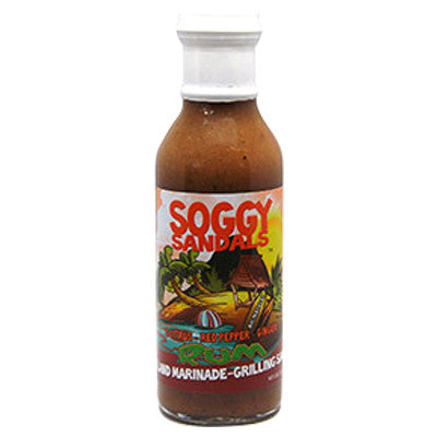 Soggy Sandals 3 Citrus, Red Pepper, Ginger, Rum - Island Marinade & Grilling Sauce, 12 oz.