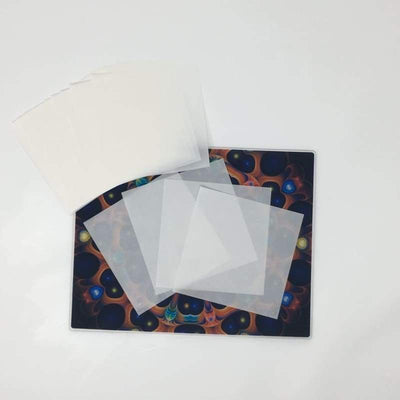 "Oil Slick Non-Stick PRECUT Paper 4.5""x 4.5"" - from silicone pipes to nonstick packaging.  Oilslick makes materials for extraction and recreational markets.  medical silicone containers, dab mats, terp proof fep and ptfe parchment. printed parchment, clear parchment, ptfe, and precut fep squares."