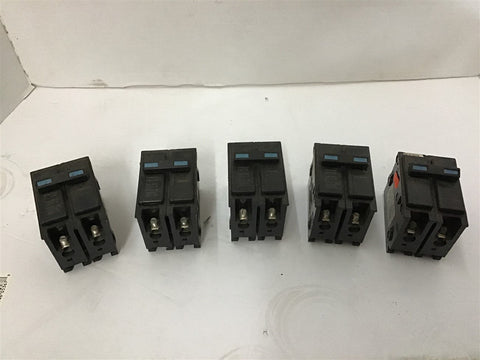 2 Pole 15 Amp Circuit Breaker Lot of 5