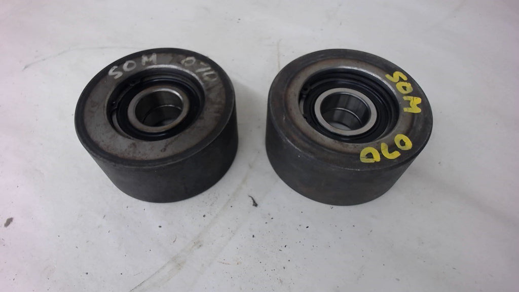 "Lot Of 2, Steel Wheels, 4""Od X 1-7/8"" Wide W/ 30Mm Bore, 2N6206, Skf Bearings"