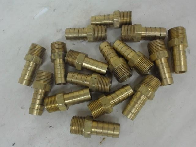 "LOT OF 16, 3/8"" X 3/8"" BRASS MALE THREADED ADAPTERS"