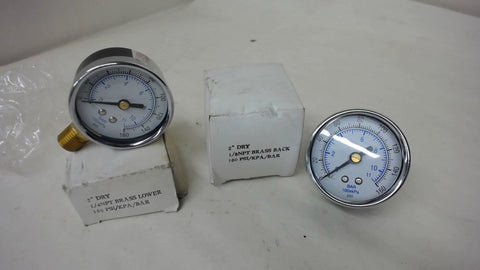 "Lot Of 2 Each 2"" Dry 160 Psi Gauges"