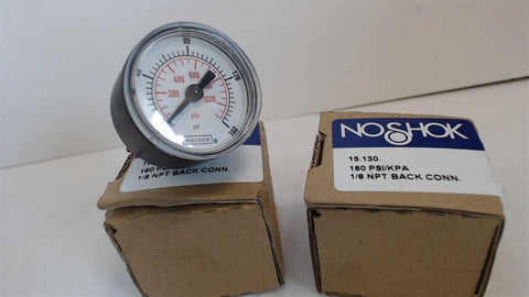 2  - NO SHOK GAUGE - 15.130 - 160 PSI/KPA - 1/8 NPT BACK CONN. - NEW