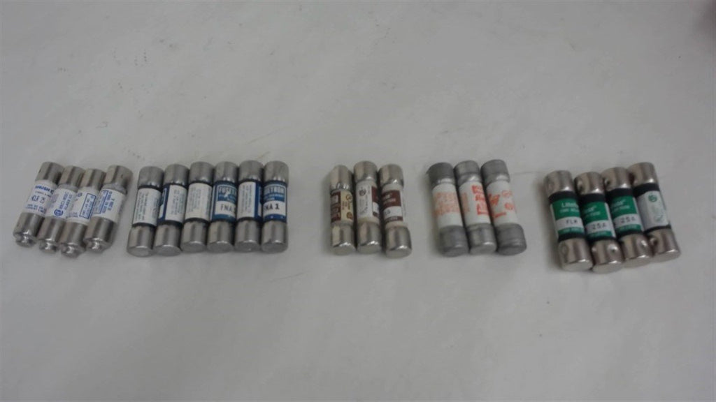 Lot Of 20 Fuses - Gould, Brush, Littelfuse, Bussmann