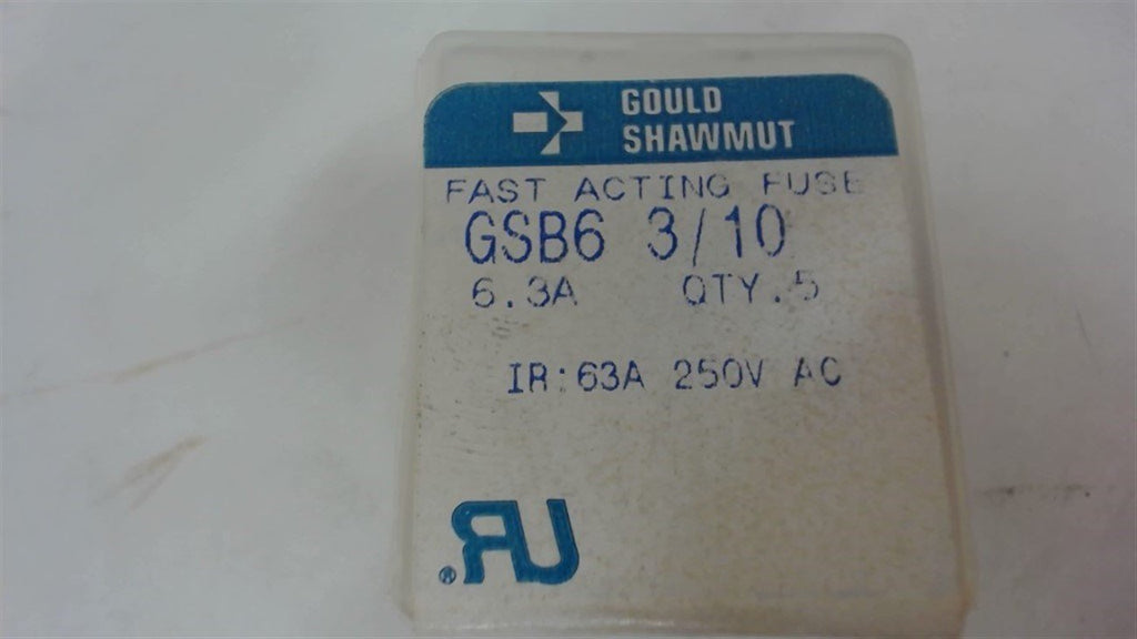 LOT OF 15 GOULD SHAWMUT GSB6 3/10 FUSES, 6.3A, 250V