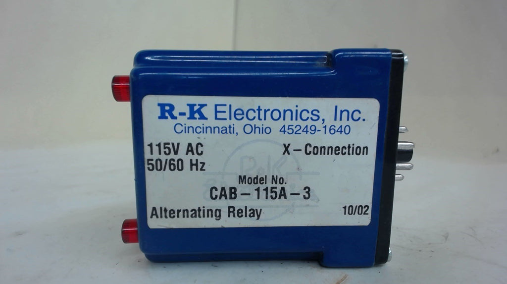 R-K ELECTRONICS CAB-115A-3 8-PIN ALTERNATING RELAY, 115 V AC, 50/60 HZ